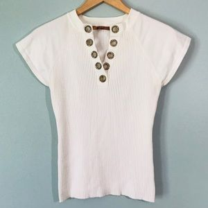 Belldini Stretch Knit With Rhinestone Grommets Tee